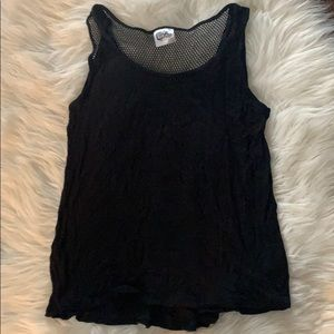 Black Flowy Tank.  Mesh at back top. Kids 10/12